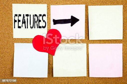 istock Conceptual hand writing text caption inspiration showing Features concept for Advertisement Advertising and Love written on wooden background, reminder  background with copy space 887670198