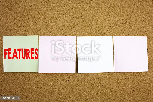 istock Conceptual hand writing text caption inspiration showing Features Business concept for Advertisement Advertising on the colourful Sticky Note close-up background with copy space 887670424