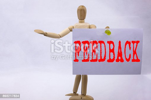 istock Conceptual hand writing text caption inspiration showing Feedback Business concept for Opinion Information Positive Negative Feedback written on sticky note sculpture background with space 893217834