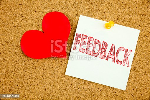 istock Conceptual hand writing text caption inspiration showing Feedback concept for Opinion Information Positive Negative Feedback and Love written on sticky note, reminder cork background with copy space 894045084