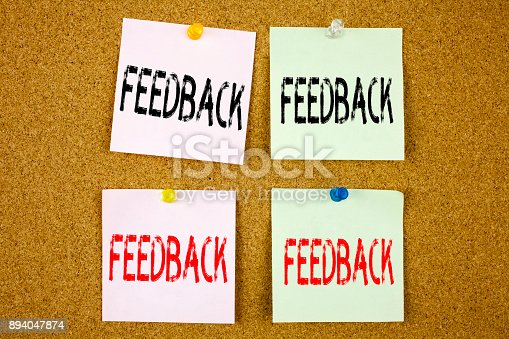 istock Conceptual hand writing text caption inspiration showing Feedback Business concept for Opinion Information Positive Negative Feedback on the colourful Sticky Note close-up 894047874