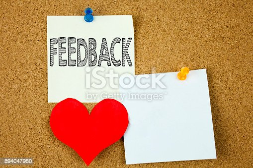 istock Conceptual hand writing text caption inspiration showing Feedback concept for Opinion Information Positive Negative Feedback and Love written on sticky note, reminder cork background with copy space 894047980