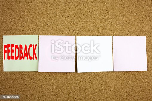 istock Conceptual hand writing text caption inspiration showing Feedback Business concept for Opinion Information Positive Negative Feedback on the colourful Sticky Note close-up background with copy space 894048380