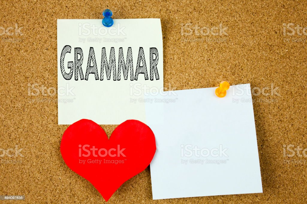 Conceptual hand writing text caption inspiration showing Grammar concept for  The Basic Rules of Syntax Grammatical Language and Love written on sticky note, reminder cork background with copy space stock photo