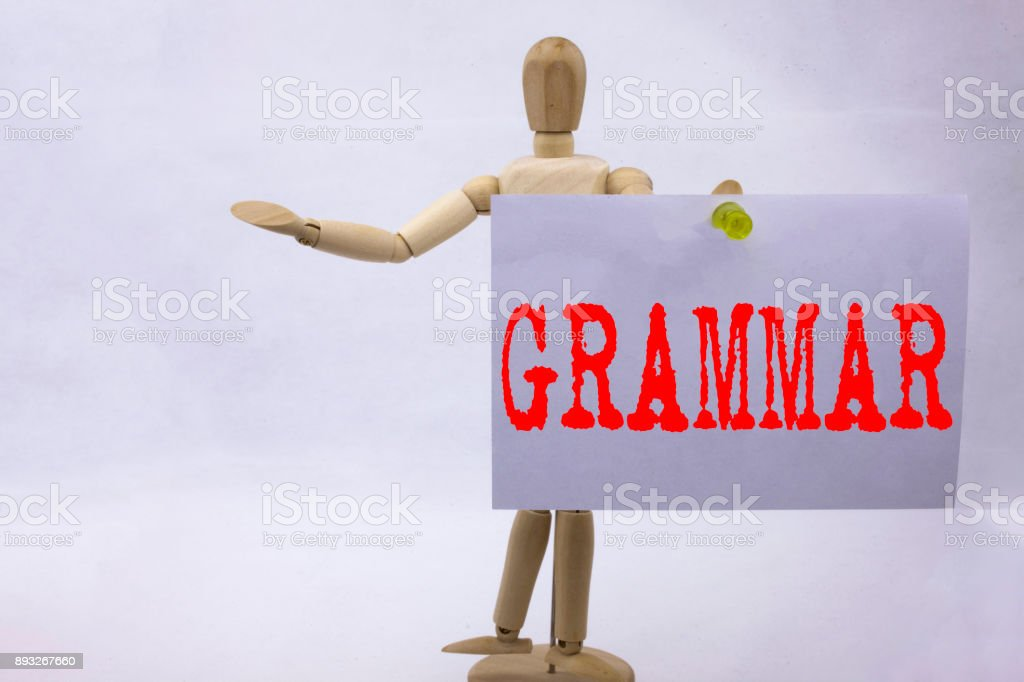 Conceptual hand writing text caption inspiration showing Grammar Business concept for  The Basic Rules of Syntax Grammatical Language written on sticky note sculpture background with space stock photo