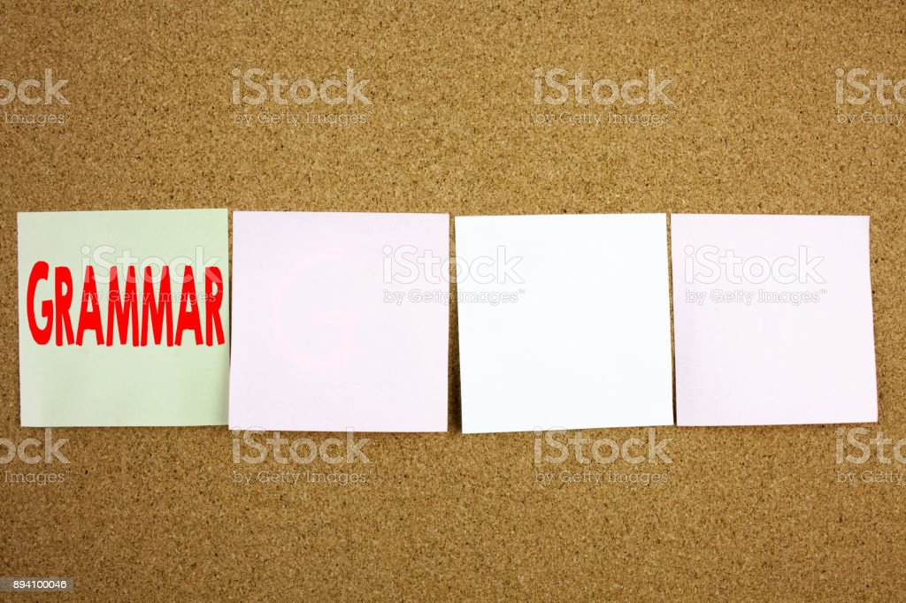 Conceptual hand writing text caption inspiration showing Grammar Business concept for  The Basic Rules of Syntax Grammatical Language on the colourful Sticky Note close-up background with copy space stock photo