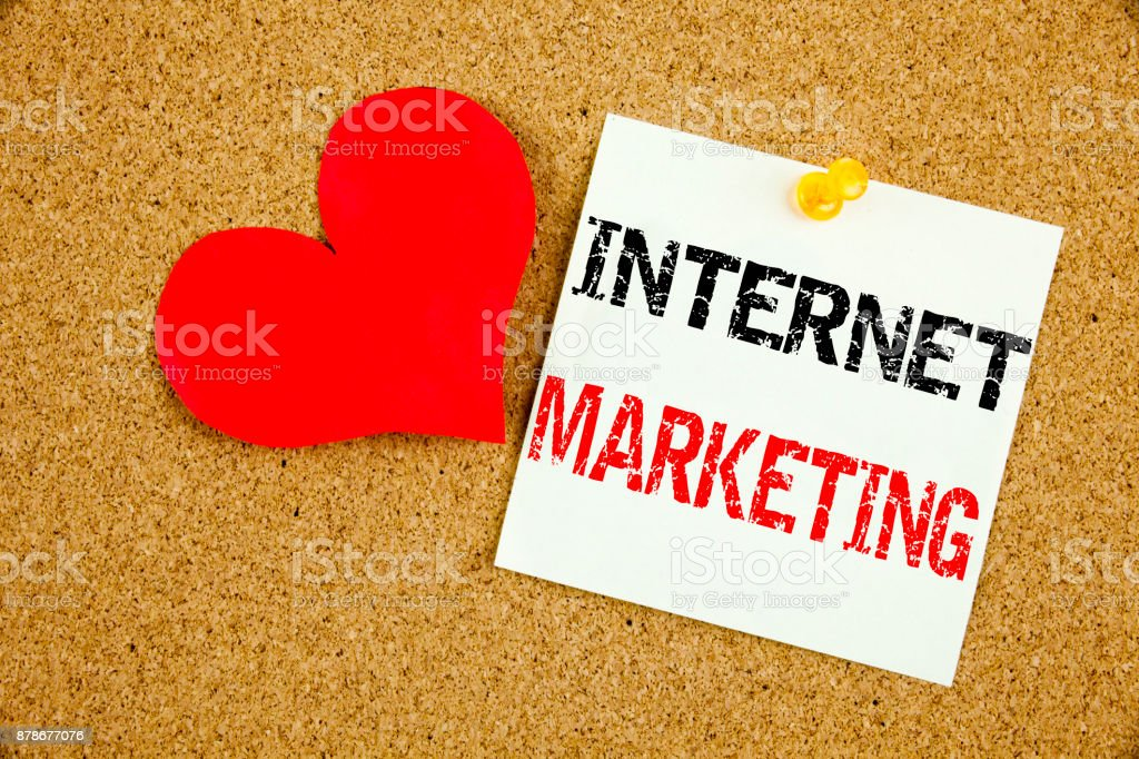 Conceptual hand writing text caption inspiration showing Internet Marketing concept for Technology Strategy Design and Love written on sticky note, reminder cork background with copy space stock photo