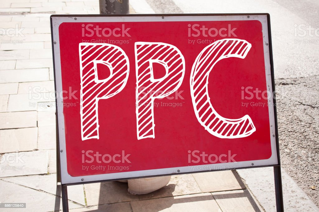 Conceptual hand writing text caption inspiration showing PPC - Pay per Click. Business concept for Internet SEO Money written on announcement road sign with background and copy space stock photo
