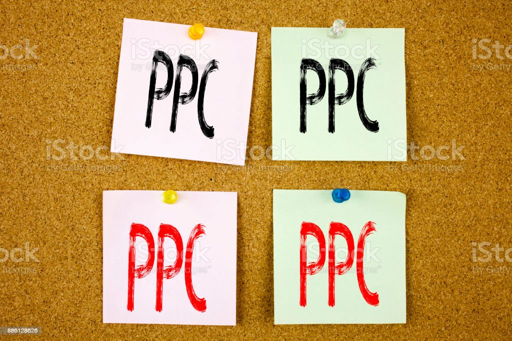 Conceptual hand writing text caption inspiration showing PPC - Pay per Click Business concept for Internet SEO Money on the colourful Sticky Note close-up stock photo