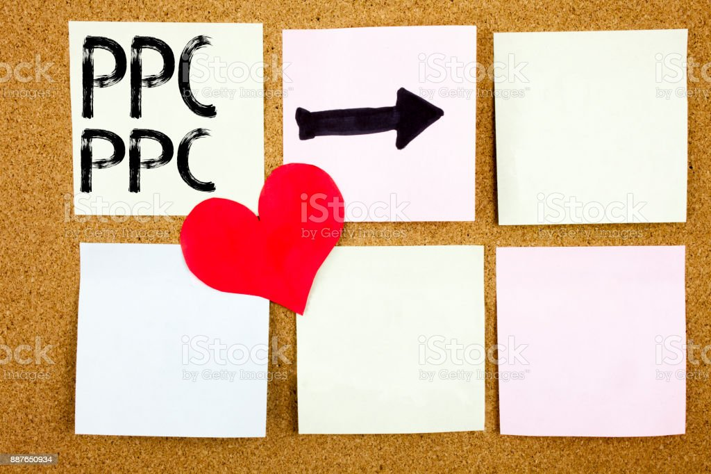 Conceptual hand writing text caption inspiration showing PPC - Pay per Click concept for Internet SEO Money and Love written on wooden background, reminder background with copy space stock photo