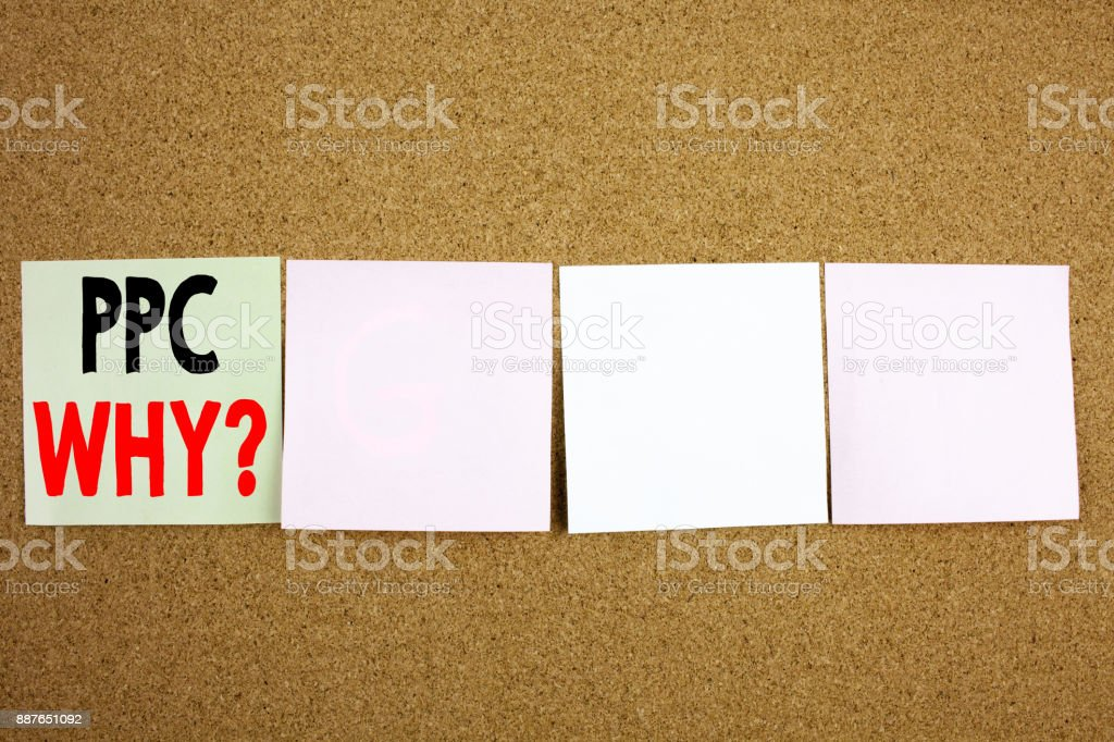 Conceptual hand writing text caption inspiration showing PPC - Pay per Click Business concept for Internet SEO Money on the colourful Sticky Note close-up background with copy space stock photo