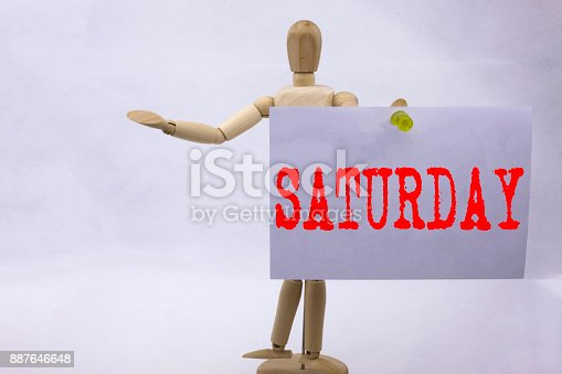 istock Conceptual hand writing text caption inspiration showing Saturday Business concept for Happy Week Weekend written on sticky note sculpture background with space 887646648