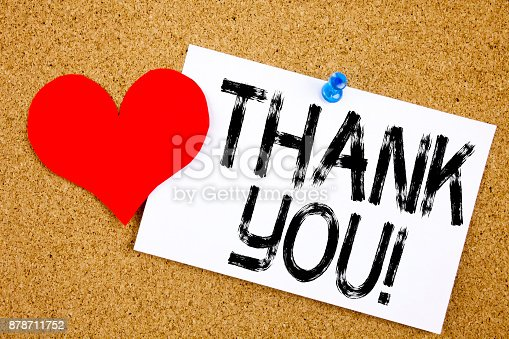 1068057246 istock photo Conceptual hand writing text caption inspiration showing Thank You concept for Giving Gratitude Appreciate Message and Love written on sticky note, reminder cork background with copy space 878711752