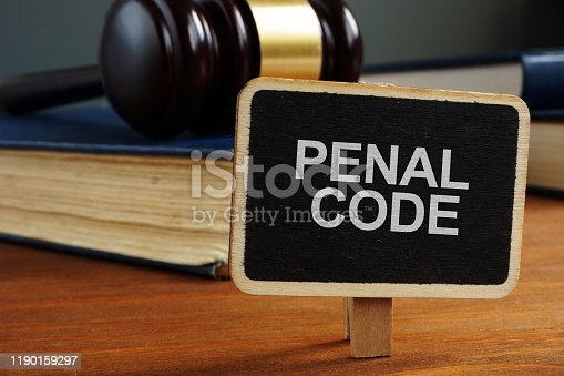 Conceptual hand writing text showing penal code