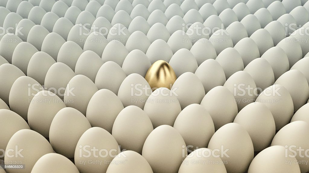 Conceptual Illustration. Golden egg among regular eggs. 3D Render stock photo