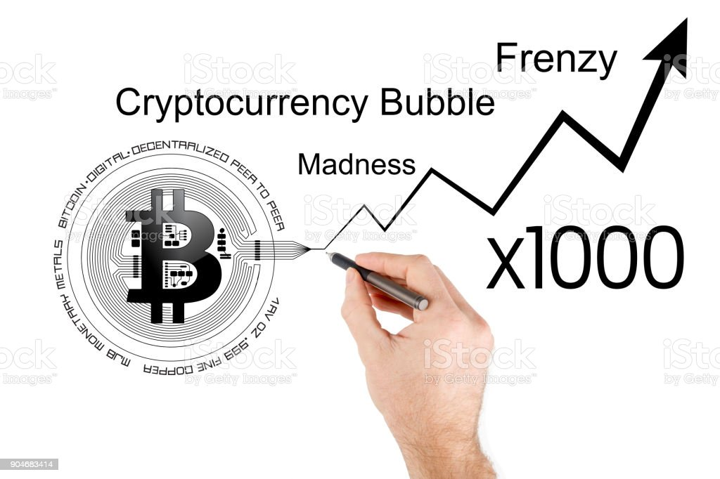 Conceptual illustration of Bitcoin price increase and cryptocurrency bubble stock photo