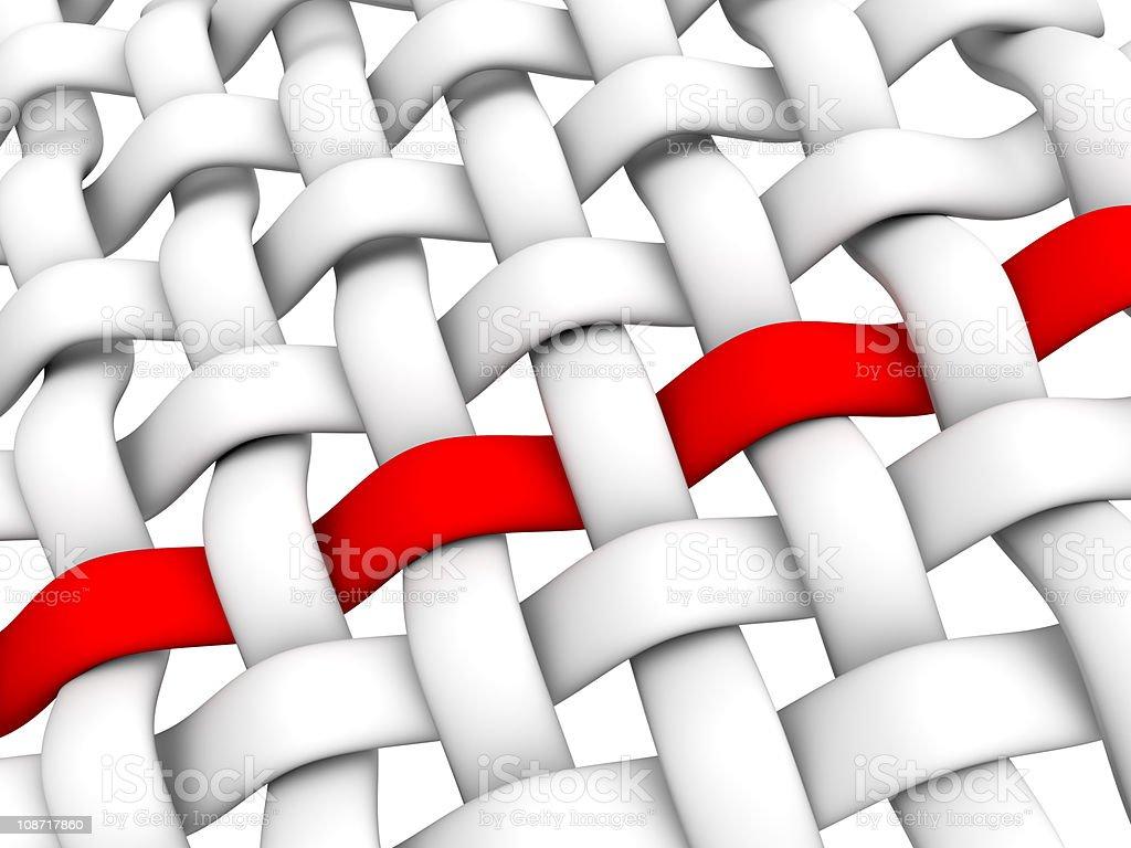 Conceptual illustration of interlaced fiber on white stock photo