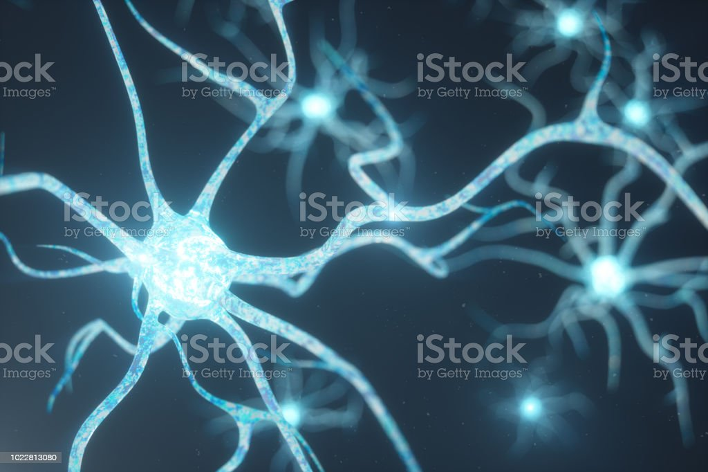 Conceptual illustration of neuron cells with glowing link knots. Synapse and neuron cells sending electrical chemical signals. Neuron of Interconnected neurons with electrical pulses, 3D illustration stock photo