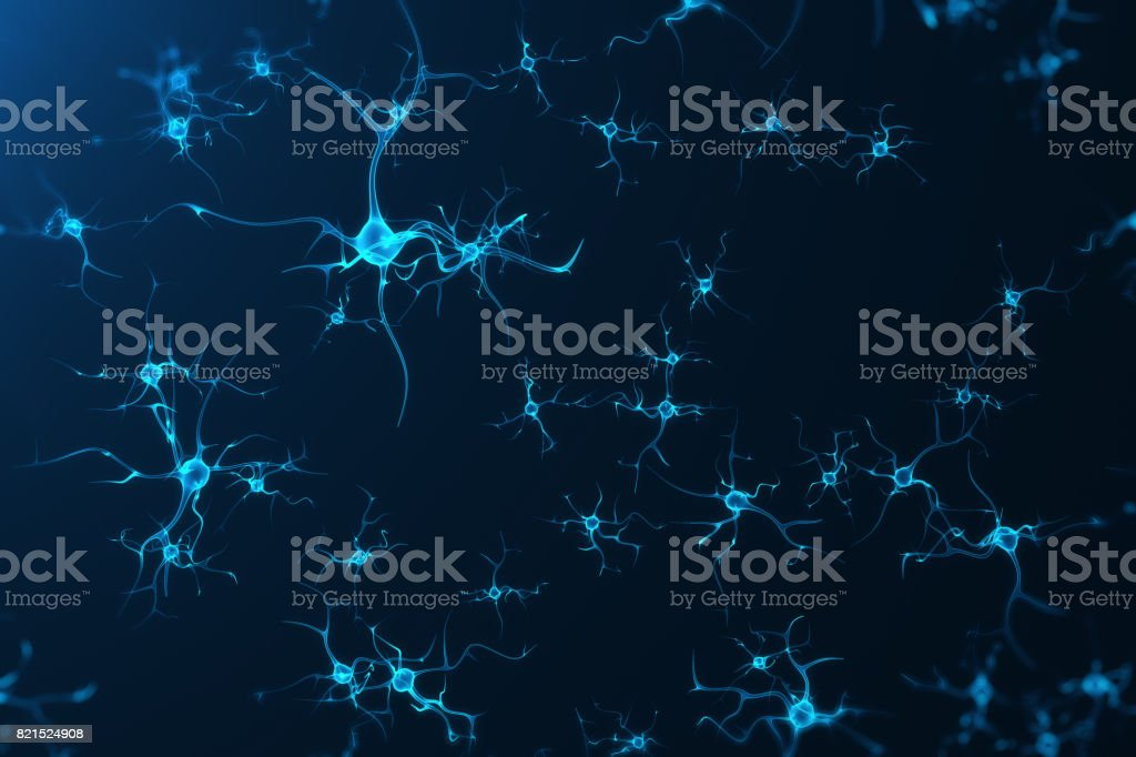 Conceptual illustration of neuron cells with glowing link knots. Synapse and Neuron cells sending electrical chemical signals. Neuron of Interconnected neurons with electrical pulses, 3D rendering stock photo