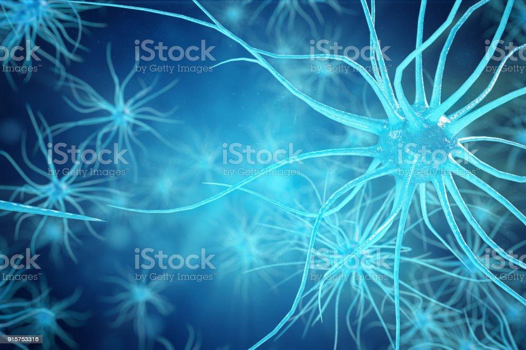 Nöron hücreleri parlayan bağlantı deniz mili ile kavramsal çizimi. SYNAPSE ve elektrik kimyasal sinyal göndererek nöron hücreleri. Nöron enterkonnekte nöronların elektrik darbeleri ile. 3D çizim stok fotoğrafı