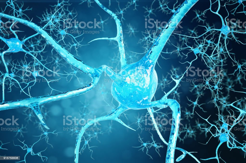 Conceptual illustration of neuron cells with glowing link knots. Synapse and Neuron cells sending electrical chemical signals. Neuron of Interconnected neurons with electrical pulses. 3D illustration stock photo
