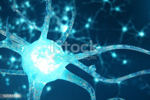 992017166 istock photo Conceptual illustration of neuron cells with glowing link knots. Neurons in brain on with focus effect. Synapse and Neuron cells sending electrical chemical signals. 3d illustration 1022812390