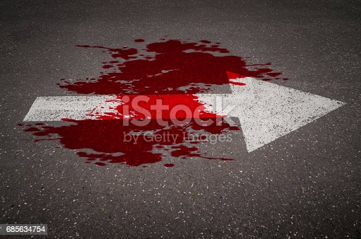 istock Conceptual image of a blood on the street pavement 685634754