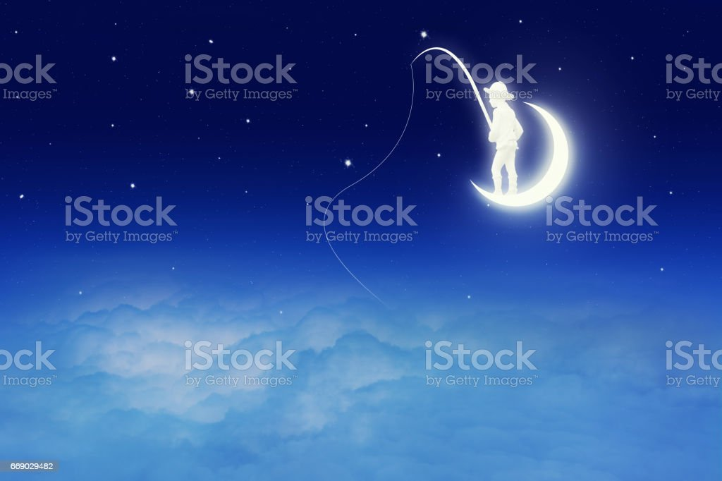 Conceptual image of a boy catching fish on moon stock photo