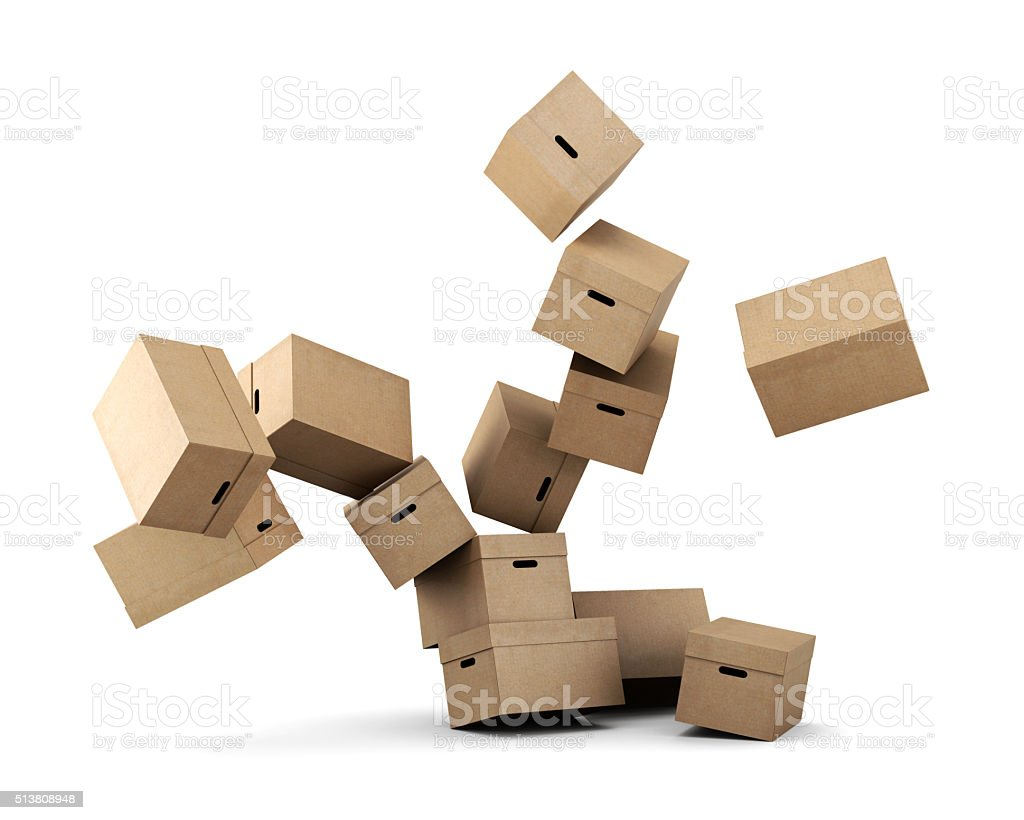 Conceptual image of a cardboard box on a white background. stock photo