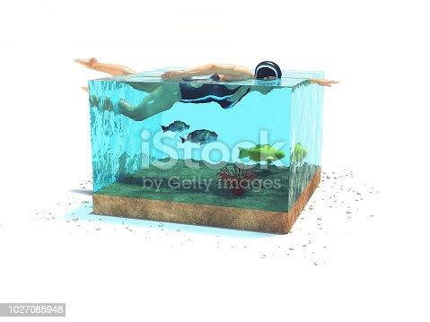 istock Conceptual image of a girl who swims in a cubic aquarium with a fish. 1027085948
