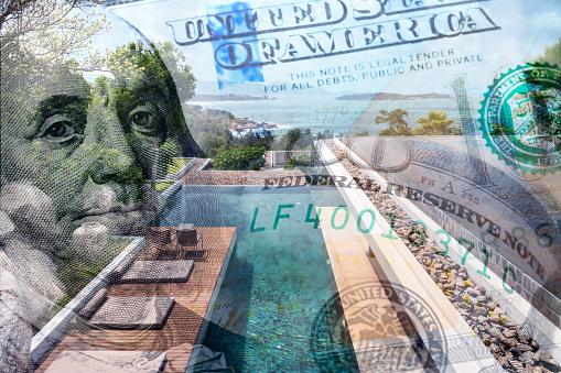 집 값을 묘사 하는 돈으로 집의 개념적 이미지 0명에 대한 스톡 사진 및 기타 이미지