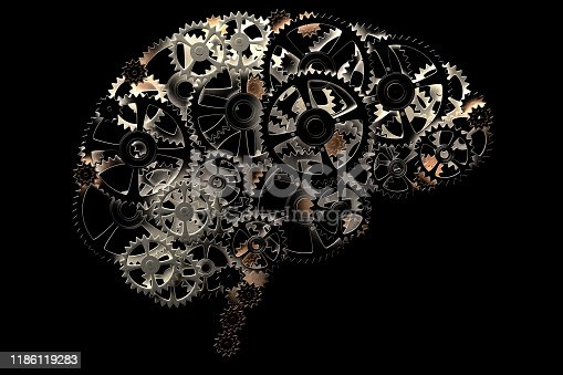istock conceptual image of a human brain made of cogwheels 1186119283