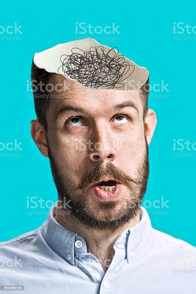Imagem Conceptual de um homem uma mentalidade aberta foto de stock royalty-free