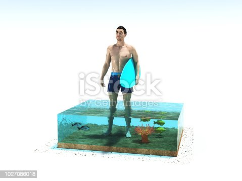 istock Conceptual image of a swimmer holding a surfboard in a cubic aquarium with a fish. 1027086018