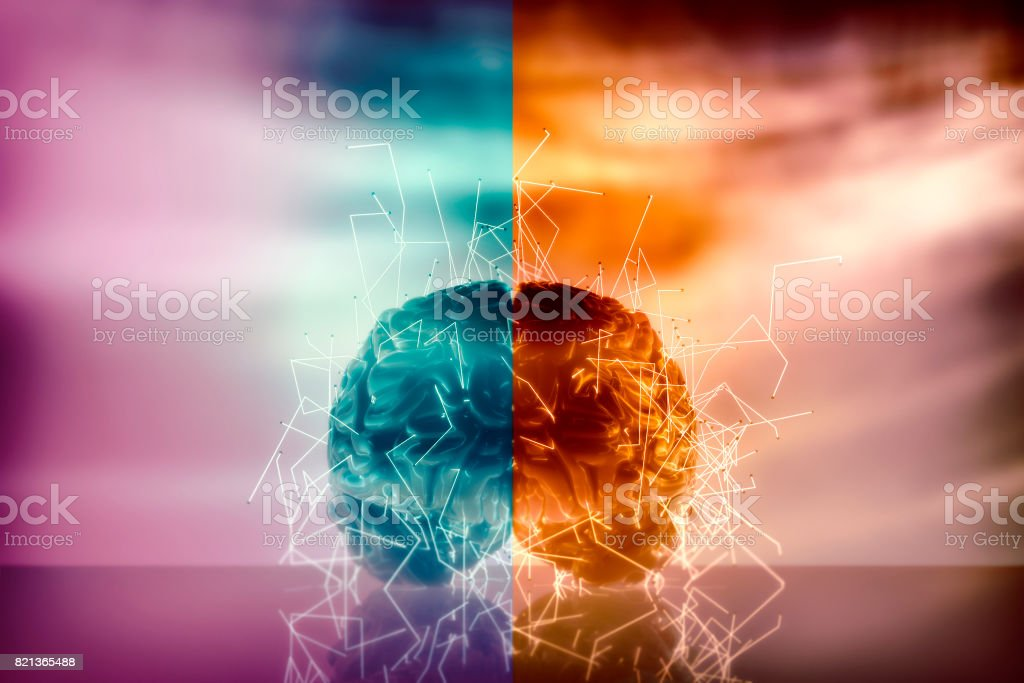 Conceptual image of human brain activity stock photo