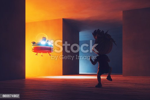 istock Conceptual image of kid discovering alien UFO 665574902