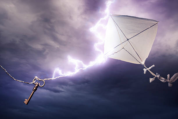 Conceptual image of kite with key being stuck by lightning Benjamin's Franklin kite in a dangerous electrical storm benjamin franklin stock pictures, royalty-free photos & images