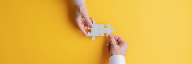 Conceptual image of teamwork and cooperation stock photo