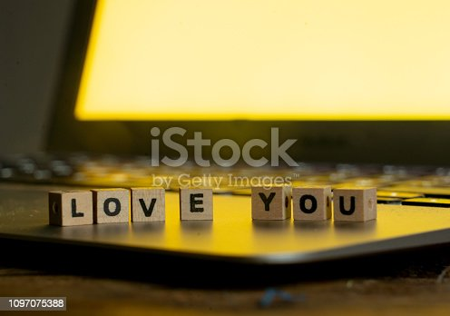 istock Conceptual image of text Love you in wood blocks on computer with mood romantic screen light background in Valentines day internet connection technology online dating and communication concept. 1097075388