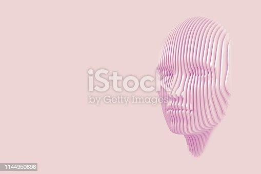 istock Conceptual image of the female head cut out of the wall and coming out of the wall. 3d illustration 1144950696