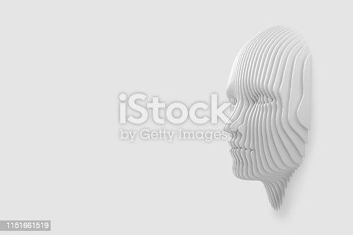 istock Conceptual image of the female head cut out of the wall and coming out of the wall. 3d illustration 1151661519