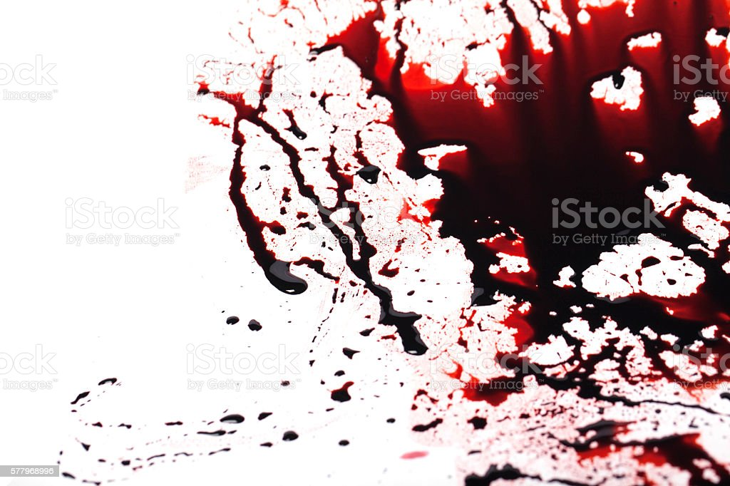 Conceptual image with blood on it resting on the floor 스톡 사진