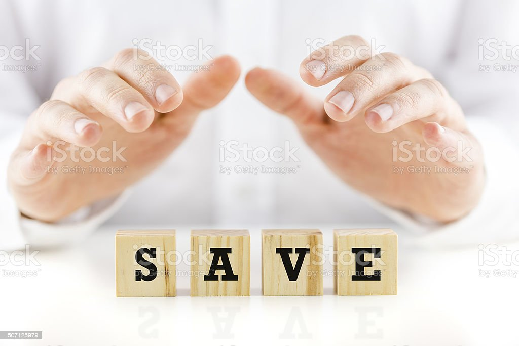 Conceptual image with the word Save royalty-free stock photo