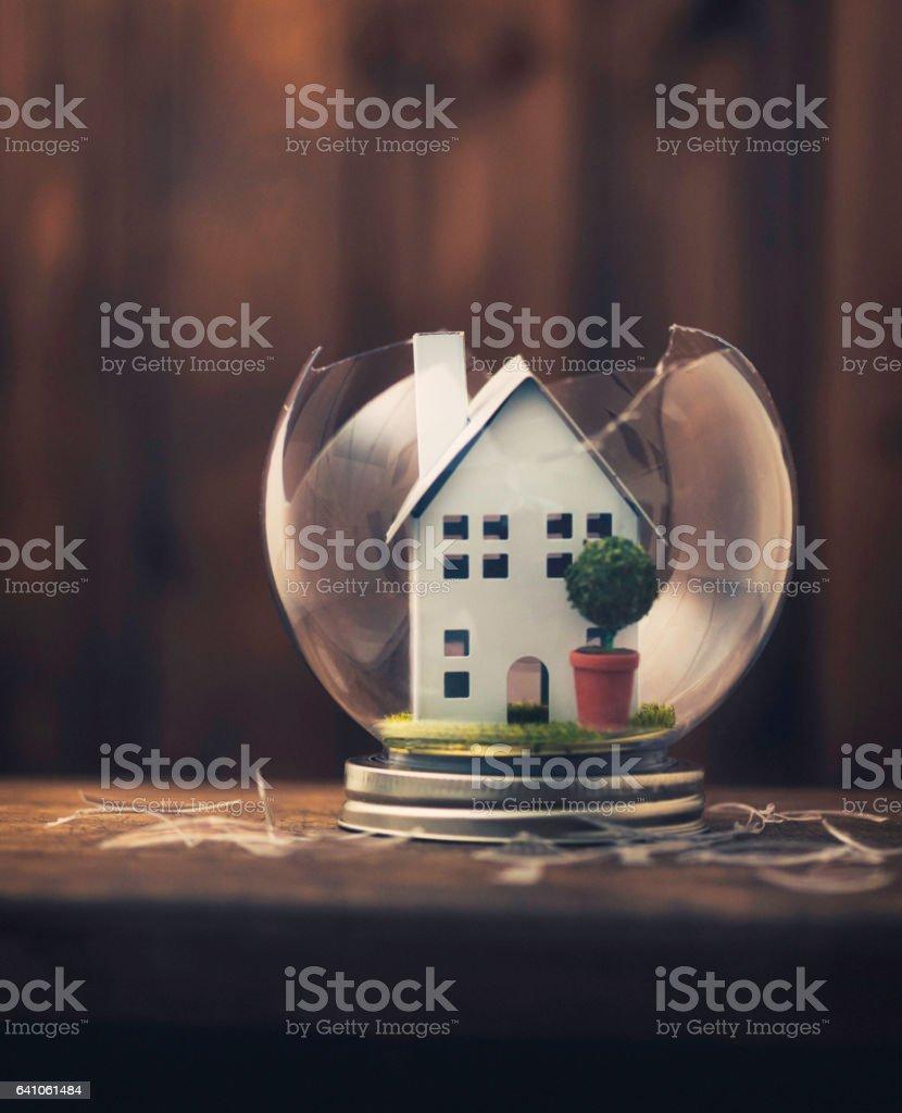 Conceptual imagery portraying a broken home stock photo
