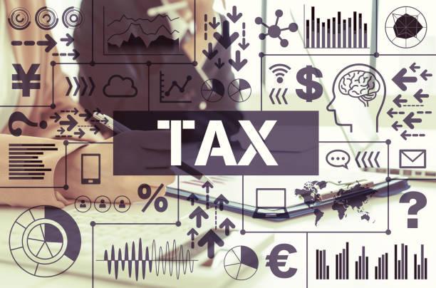 税の概念的なインフォ グラフィック。 ストックフォト