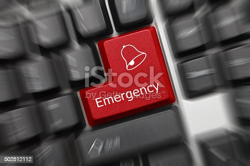 istock Conceptual keyboard - Emergency (red key, zoom effect) 502512112