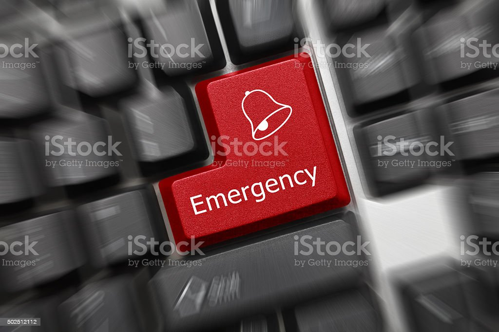 Conceptual keyboard - Emergency (red key, zoom effect) stock photo