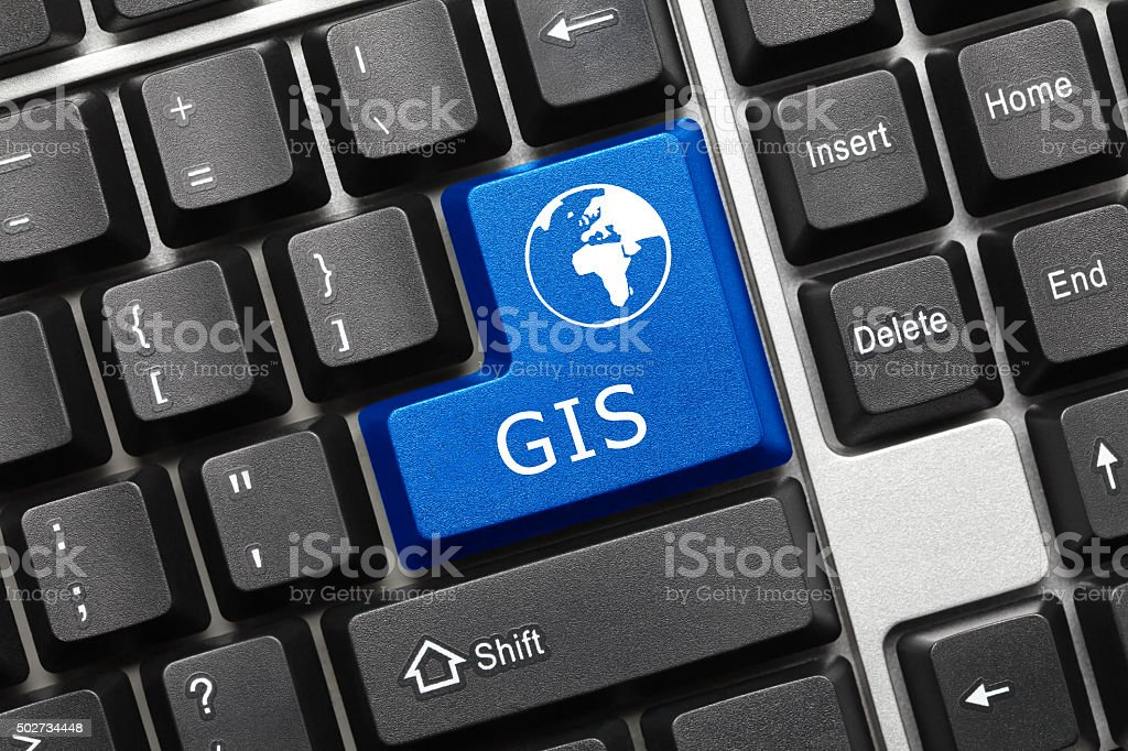 Conceptual keyboard - GIS (blue key) stock photo