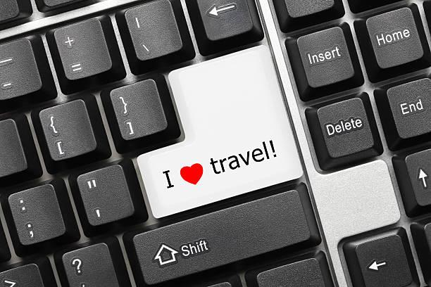 Konzeptionelle Tastatur-ich liebe Reisen Schlüssel – Foto