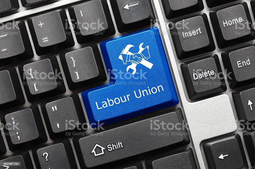 Conceptual keyboard - Labour Union (blue key) stock photo
